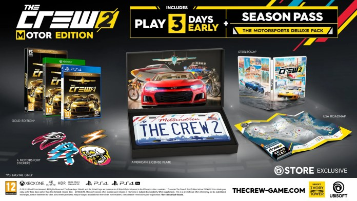 This image shows the stuff you will get by ordering the Motor Edition of The Crew 2.