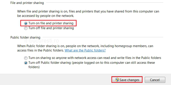 Turn on file and printer sharing