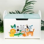 Kids Wooden Toy Box Storage Unit Chest Ottoman Trunk Nursery Bedroom Animals Ebay