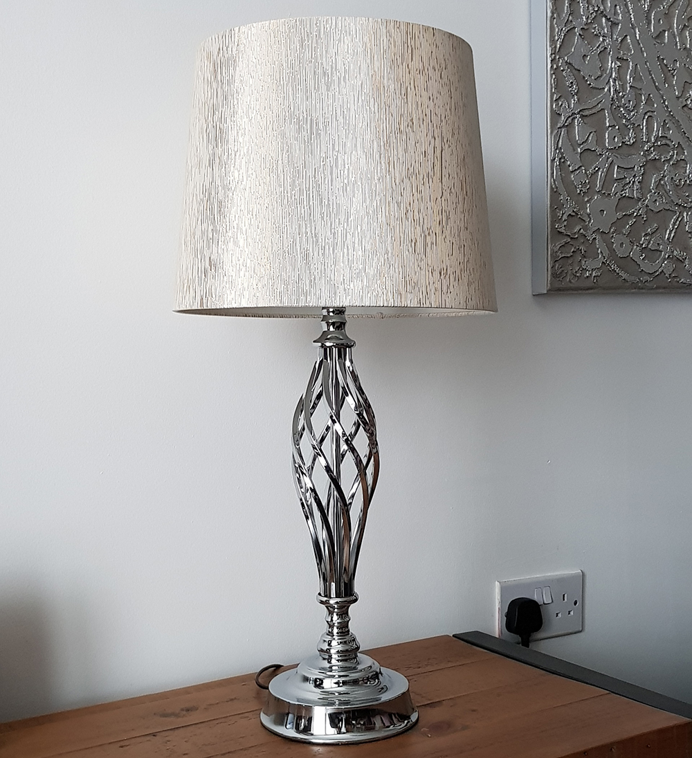 Kliving Compton Chrome Table Lamp And Light Gold Shade Home
