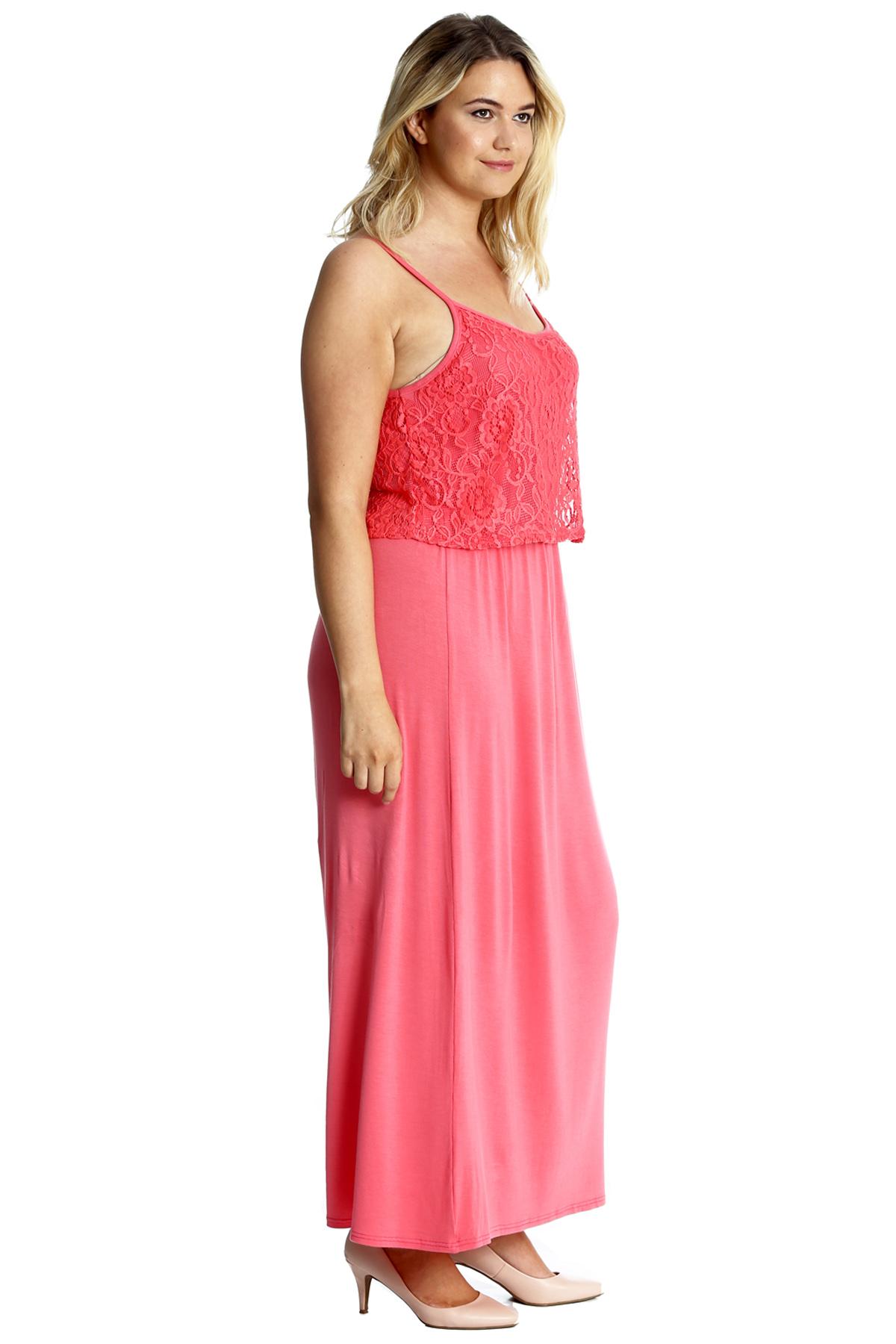 New Womens Maxi Dress Plus Size La S Floral Lace Full