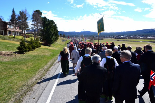 Lang, lang rekke med feststemte østerdøler i 17.maitoget i går. Her er noen av bondelagets medlemmer bak sin fane.