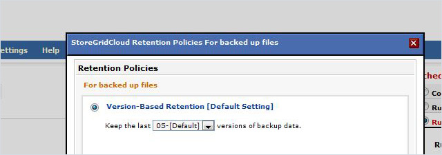 Flexible backup retention policies