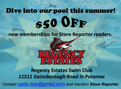 Regency Estates Swim Club ad: $50 off for Store Reporter readers, http://rescswimpool.org