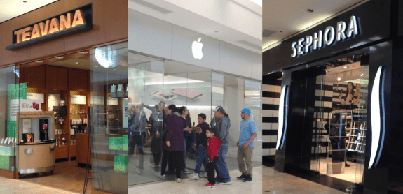 Apple, Teavana and Sephora stores at Westfield Montgomery Mall
