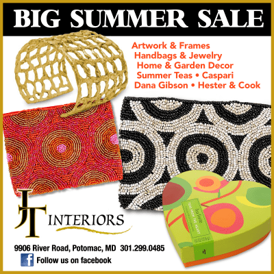 Big summer sale at JT Interiors in Potomac Village: https://www.facebook.com/jtinteriorspotomac/