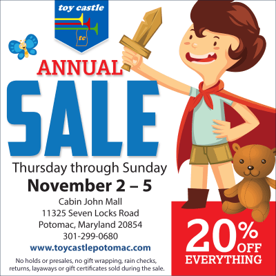Toy Castle annual sale: https://www.facebook.com/toycastlepotomac/