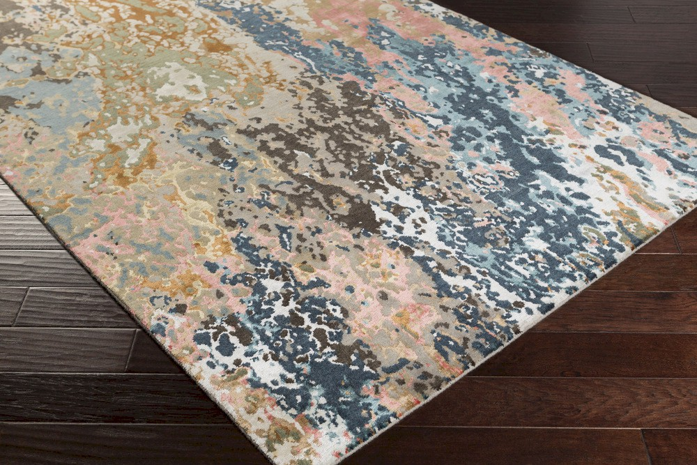 surya chemistry chm 2002 navy teal grey black tan coral area rug rugs a bound