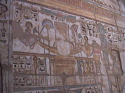 Barca di Khonsu, figlio di Ra, che componeva la triade con suo padre e sua madre Mut.