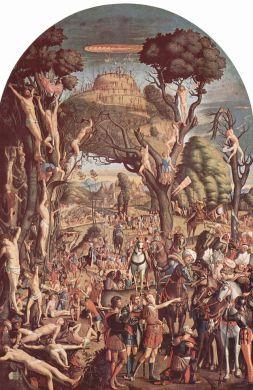 I diecimila crocifissi del monte Ararat, dipinto di Vittore Carpaccio, 1515, Venezia, Gallerie dell'Accademia.