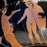Cassandra offre una libagione ad Ettore. Kántharos attico a figure rosse, Pittore di Eretria (425-420 a.C. ca). Fondazione Ettore Pomarici Santomasi (Gravina in Puglia)