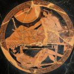 Achille guarda il corpo di Ettore. Tondo da una figura rossa attica, 490-480 a.C., museo del Louvre, Parigi.