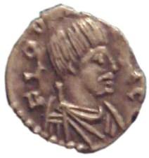"""Moneta di Odoacre, coniata a Ravenna nel 477. Notare i baffi """"barbarici"""" del re germanico. Battaglia di Verona"""