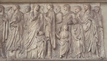 Processione della famiglia di Augusto sul lato sud dell'Ara Pacis: la gens Giulio-Claudia.