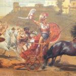 Achille trascina il corpo senza vita di Ettore attorno a Troia. Affresco della fine del XIX secolo nel palazzo dell'Achilleion a Corfù, in Grecia