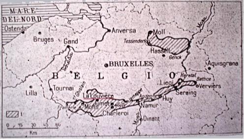 Carta delle miniere di carbone in Belgio. Fonte: F. Milone, Il carbone e l'emigrazione italiana in Belgio, in «Bollettino della Società Geografica Italiana», 8, 1949, 105.