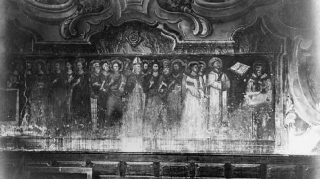 """Pittore lombardo, """"Messa di san Michele"""", Monza, Museo del Duomo (fotografato nel 1918, prima dell'abbattimento della chiesa di San Michele)"""