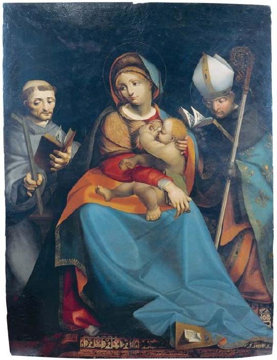 """Pietro Grammorseo, """"Madonna col Bambino e santi"""", 1523. Vercelli, Palazzo Arcivescovile (da San Francesco a Casale)"""
