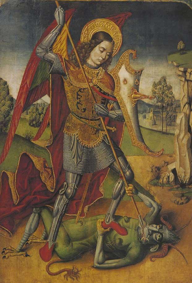 """Maestro di Castelsardo, <em>San Michele Arcangelo</em>, particolare del Retablo di Tuili, c. 1498-1500, Tuili (Medio Campidano), parrocchiale di San Pietro (Foto <a href=""""http://www.sardegnadigitallibrary.it/index.php?xsl=626&id=126235"""" target=""""_blank"""">sardegnadigitallibrary</a>"""