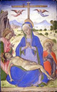 Lazzaro Bastiani, Pietà tra i santi Giovanni evangelista e Maria Maddalena, 1460-1465 circa. Milano, Museo Poldi Pezzoli