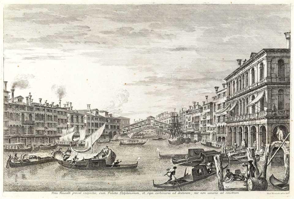 Michele Marieschi, Il ponte di Rialto da sud, da Vedute di Venezia, 1741