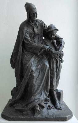 1. Dante insegna la lingua italiana a un fanciullo trentino gruppo in gesso di Andrea Malfatti Trento Biblioteca comunale