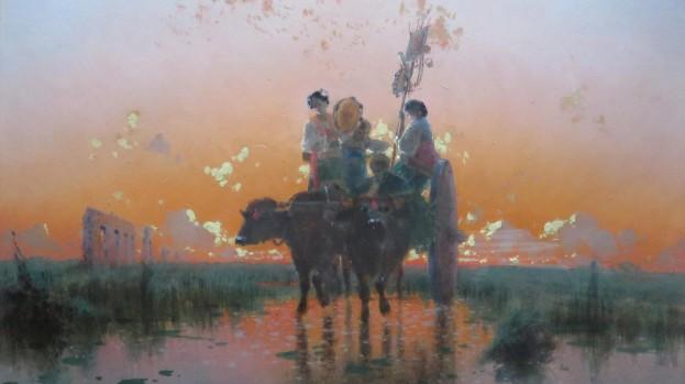Ritorno dalla festa di Montevergine al tramonto, 1883