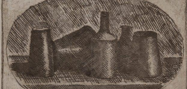 Giorgio Morandi, Natura morta su sfondo ovale. Acquaforte, 1921. Trieste, collezione Malabotta (in deposito presso la Fondazione Giorgio Cini, Venezia)