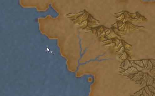 2) Create un livello Fiumi (subito sotto ai livelli delle montagne). Posizionando il mouse sopra la montagna da cui parte il fiume, disegnate con movimento serpeggiante, il fiume fino al mare. Non preoccupatevi se sembra non disegnare appena cliccate il tasto sinistro del mouse, tenete premuto e continuate a disegnare. Disegnate anche qualche affluente più piccolo. Più ne disegnate più il fiume sembrerà verosimile.