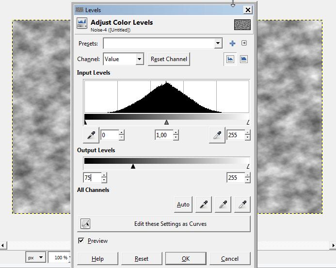 Andate su Color → Levels e modificate il valore minimo dei livelli in uscita (Output Levels) a 75.