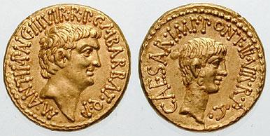 Aureo di Antonio e Ottaviano coniato in occasione del secondo triumvirato