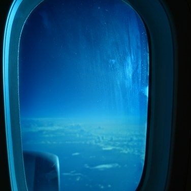 Looking out a 787 window