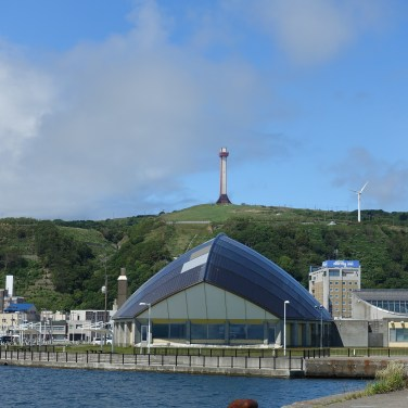Domed fitness centre with hill and lookout behind