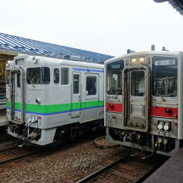 Two trains at a platform