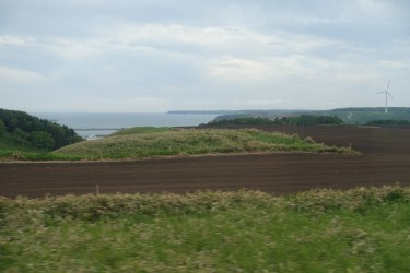 A bay and farmland