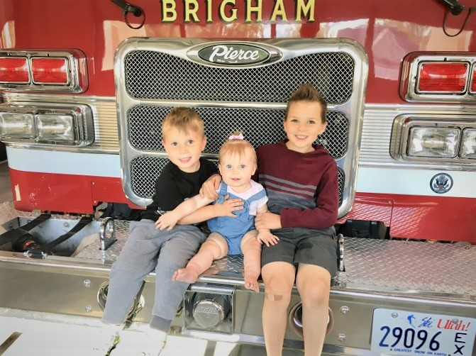 Kids with fire truck