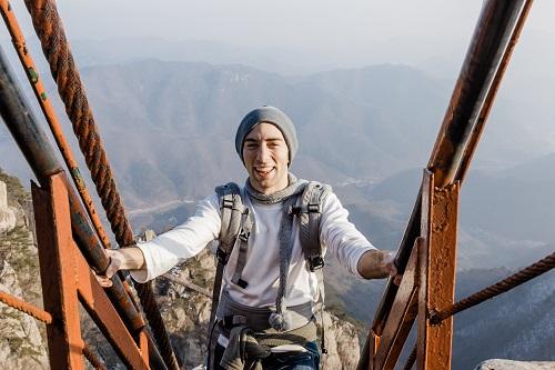 Zach on a bridge