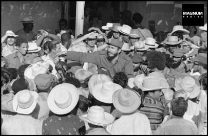 CUBA. La Havana. 1959. Fidel Castro in the crowd of white hats in La Havana. ©BurtGlinn/Magnum