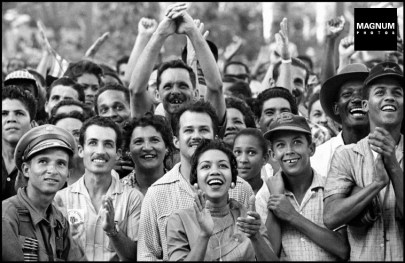 CUBA. La Havana. 1959. Thousands of supporters flocked in front of the Presidential Palace in La Havana to welcome their liberator Fidel CASTRO and the newly appointee Dr. Manuel URRUTIA (as Fidel CASTRO was too young to become President at the time). ©BurtGlinn/Magnum
