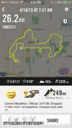 Workout summary from my Nike+ Running App, which was remarkably accurate during this marathon.