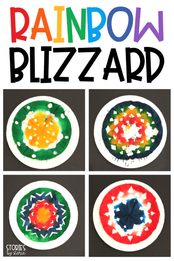 If you want to add new life to your old snowflake projects, you should make a Rainbow Blizzard with your students. These snowflakes are made using coffee filters and food coloring with a little water to help the colors bleed together.