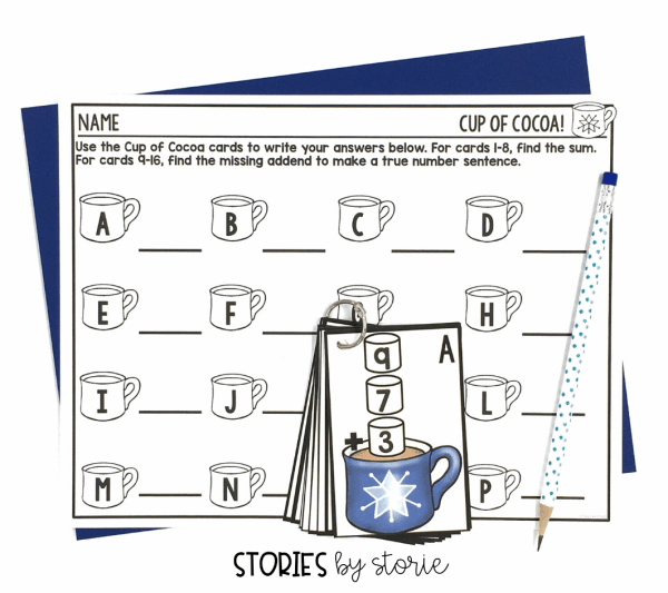 This Cup of Cocoa pack is designed to be used as a Scoot or Roam-the-Room activity. Students walk around the room and complete the task cards on the go. This helps get the wiggles out and gets them moving after sitting during your lesson. You can also use this activity in a math center. Simply place the cards on a ring for students to easily access and use.