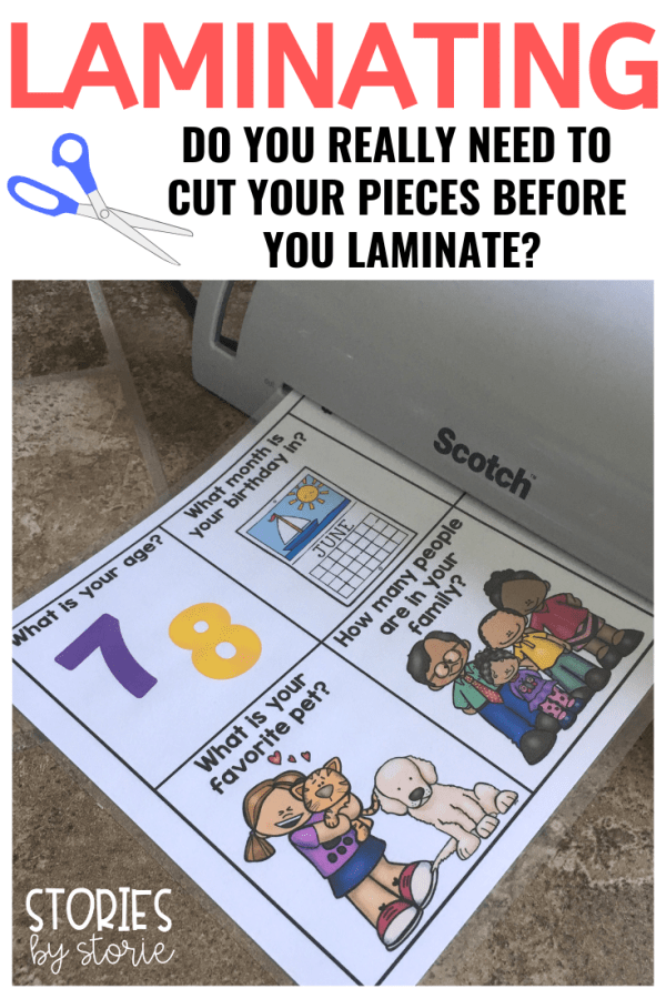 Do you love laminating? I do! For years I have laminated the small pieces of my games and centers to make sure they will last. Because I use small pieces, I have been cutting the pieces, laminating, and then cutting again so the edges would remain sealed after laminating. I started reading stories about teachers who never cut prior to laminating. I was skeptical, but also curious. I had to try it out for myself and here's what happened.