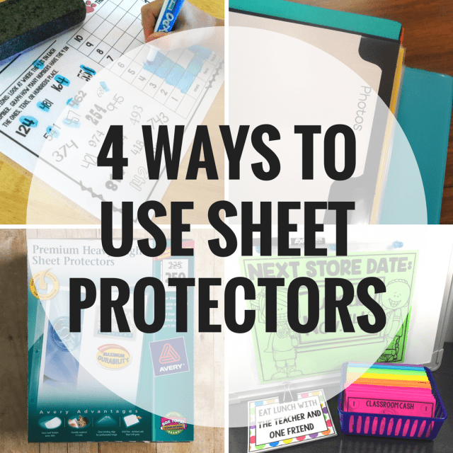 One of the supplies I always have on hand in the classroom is sheet protectors. They are durable, affordable, versatile, and easy to use which is a win-win situation in my book. Here are four ways I have used them in my classroom.
