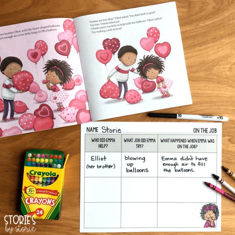 In The Littlest Valentine, Emma tries so hard to help with her family's business. Students can keep track of the jobs Emma tries with this graphic organizer.