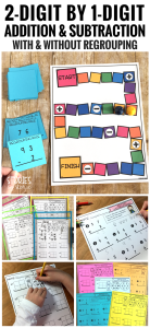 These activities are for adding and subtracting 2-digit by 1-digit numbers both with and without regrouping.
