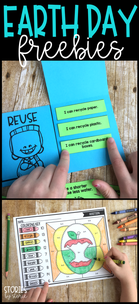 Do you need a quick activity for Earth Day? Take a look at this free sorting activity. Students sort examples under the reduce, reuse, and recycle flaps. There are also four color-by-code activities with an Earth Day theme.