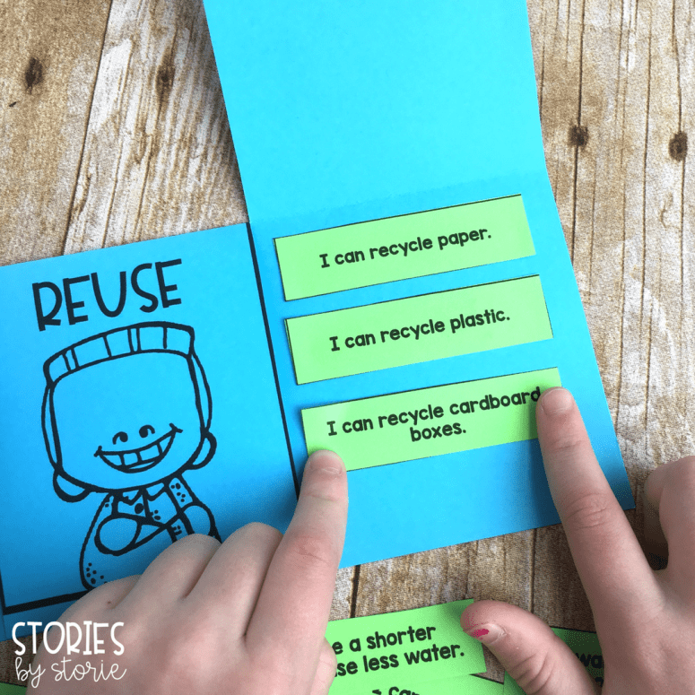 This free sorting activity is perfect to use near Earth Day. Students will glue statements under the reduce, reuse, and recycle flaps.