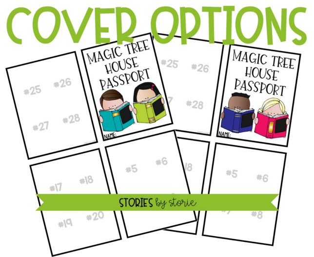 The Magic Tree House Passport Booklet comes with two different cover options. You can print these in color or black and white to save ink.