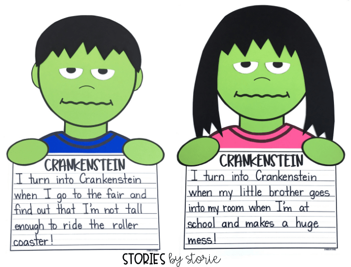 After reading Crankenstein by Samantha Berger, students can brainstorm all of the things that make them feel cranky. Then students can create this Crankenstein craft to go with their writing.